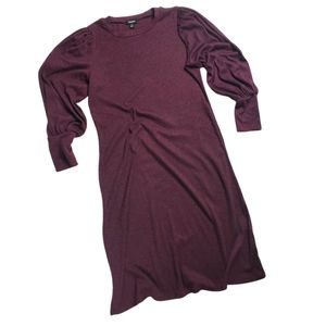 Tacera Maroon Sweater Dress w/ Balloon Sleeve| M